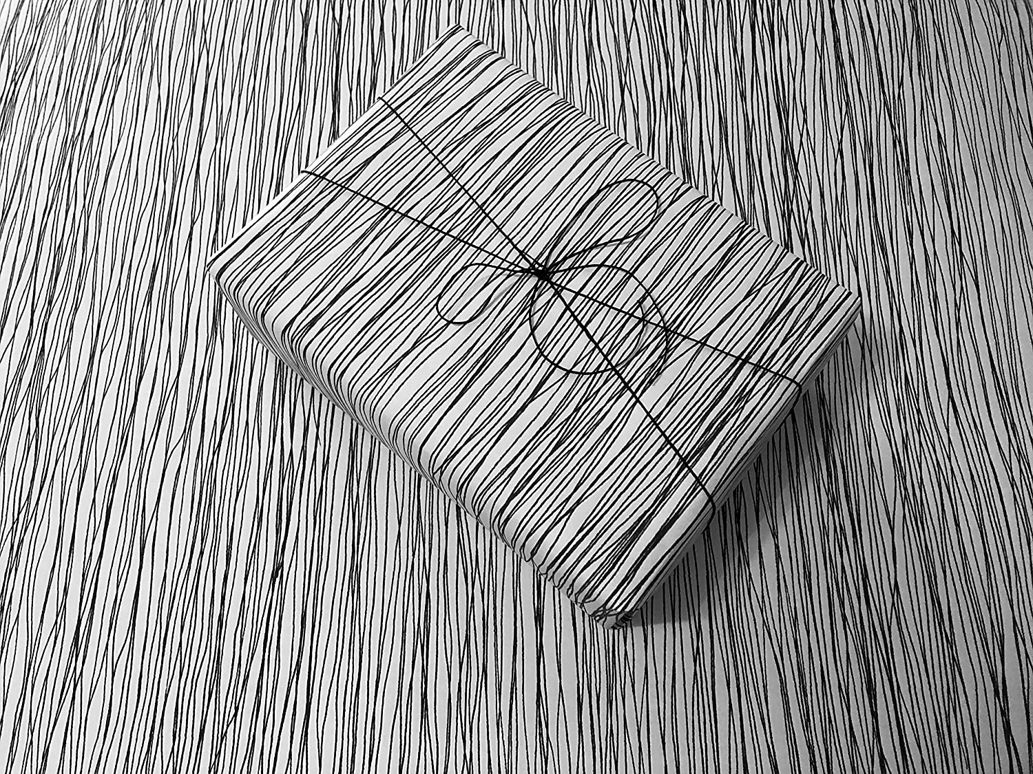 Spooky Black Lines Gothic Wrapping Paper - Black and White Gift Wrap Roll - Premium Handmade Wrapping Paper
