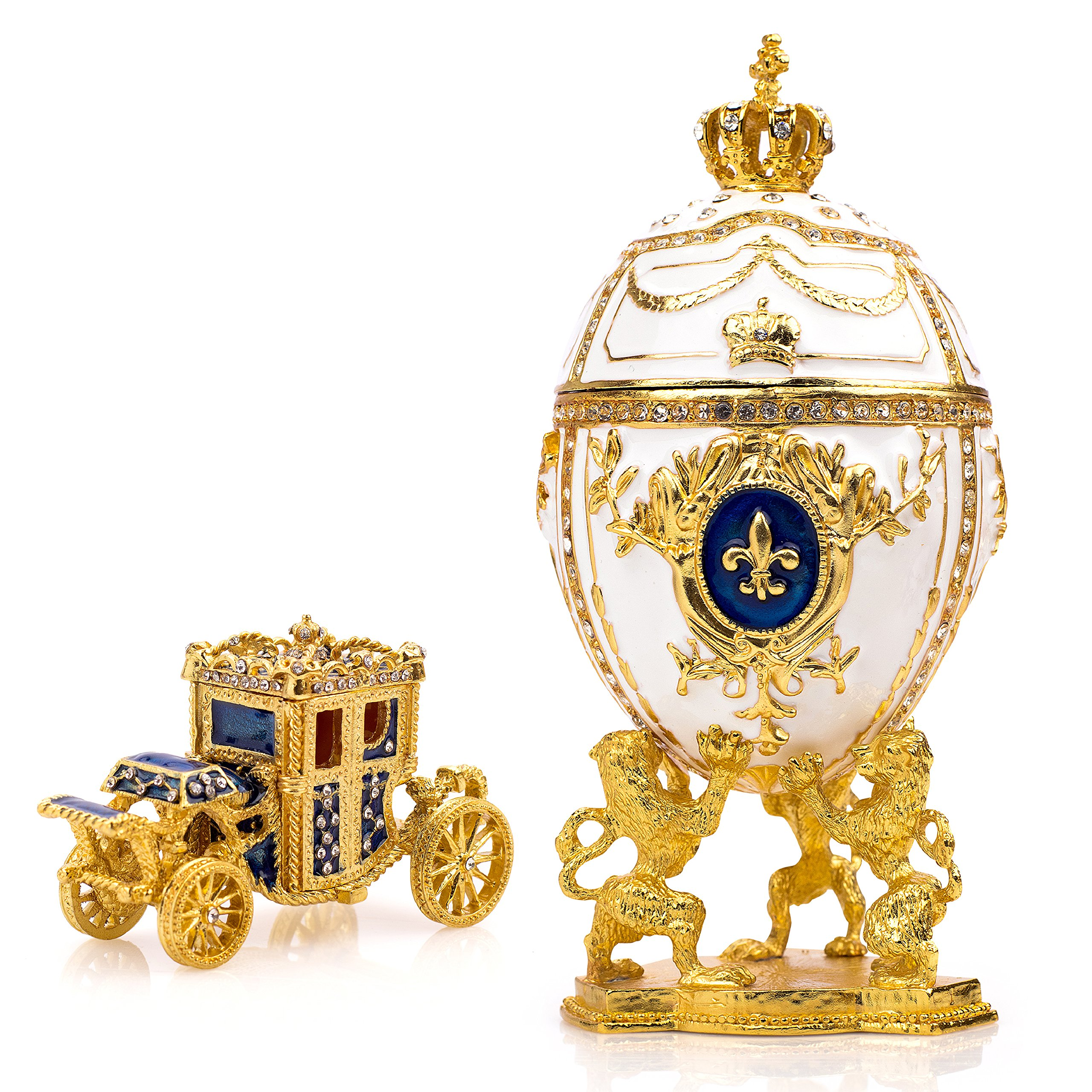 Unique, Decorative White Faberge Egg: Extra Large 6.6 inches, Hand Painted Jewelry Box for The Ultimate Home Décor, Comes with Gift Faberge Carriage, Store Your Rings, Earrings and Jewelry in Style