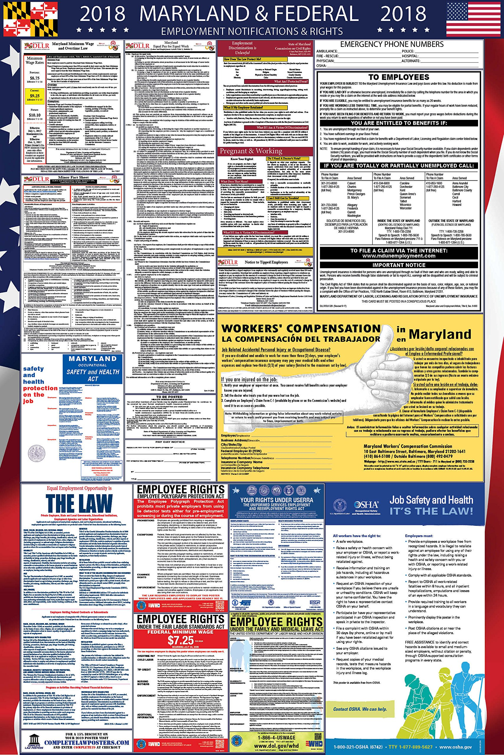 2018 Maryland and Federal Labor Law Poster by Complete Law Posters (Image #1)