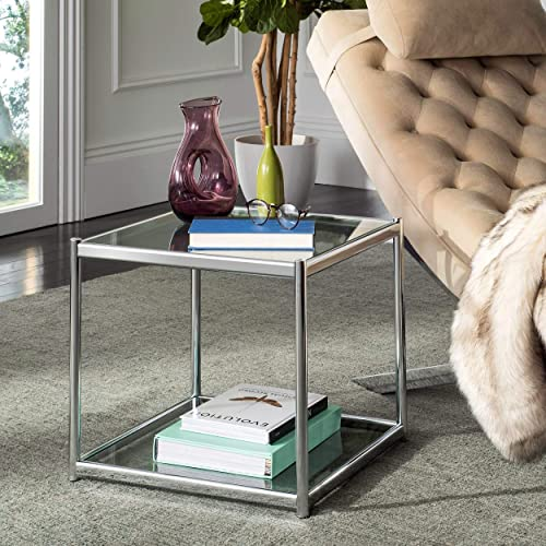 Safavieh Home Collection Lilias Chrome and Glass Square End Table