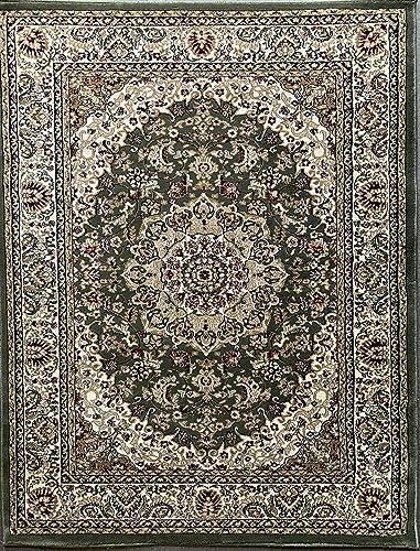 Traditional Oriental 500,000 Point Area Rug Green Persian Design 401 8 Feet X 10 Feet 6 Inch