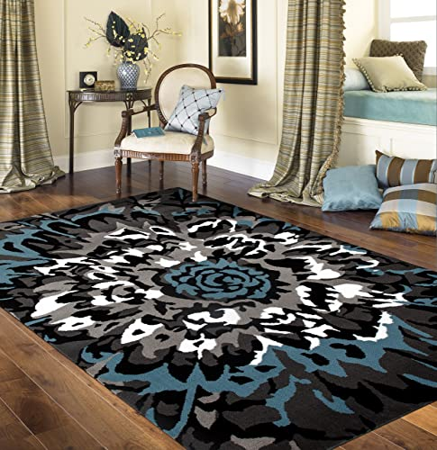 Modern Large Floral Pattern Area Rug 9' X 12' Blue/Gray