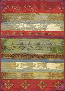 Unique Loom Outdoor Modern Collection Colorful Striped Botanical Transitional Indoor and Outdoor Flatweave Multi Area Rug (4' 0 x 6' 0)