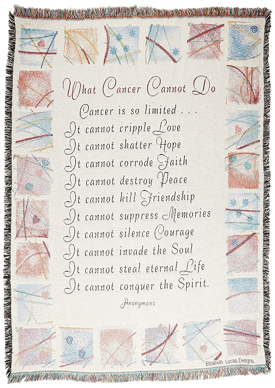 What Cancer Cannot Do Survivor Woven Tapestry Throw Blanket Cotton with Fringe Cotton USA 72x54 2562-T Pure Country Weavers