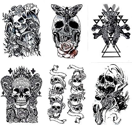 Amazon.com: Gilded Girl Skull & Skeleton Pirate Tattoos (Set of 6 ...