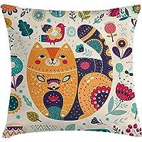 Orange Venue Renkli Hayvanlar Yastık Kırlent Kılıfı, 45 X 45 cm