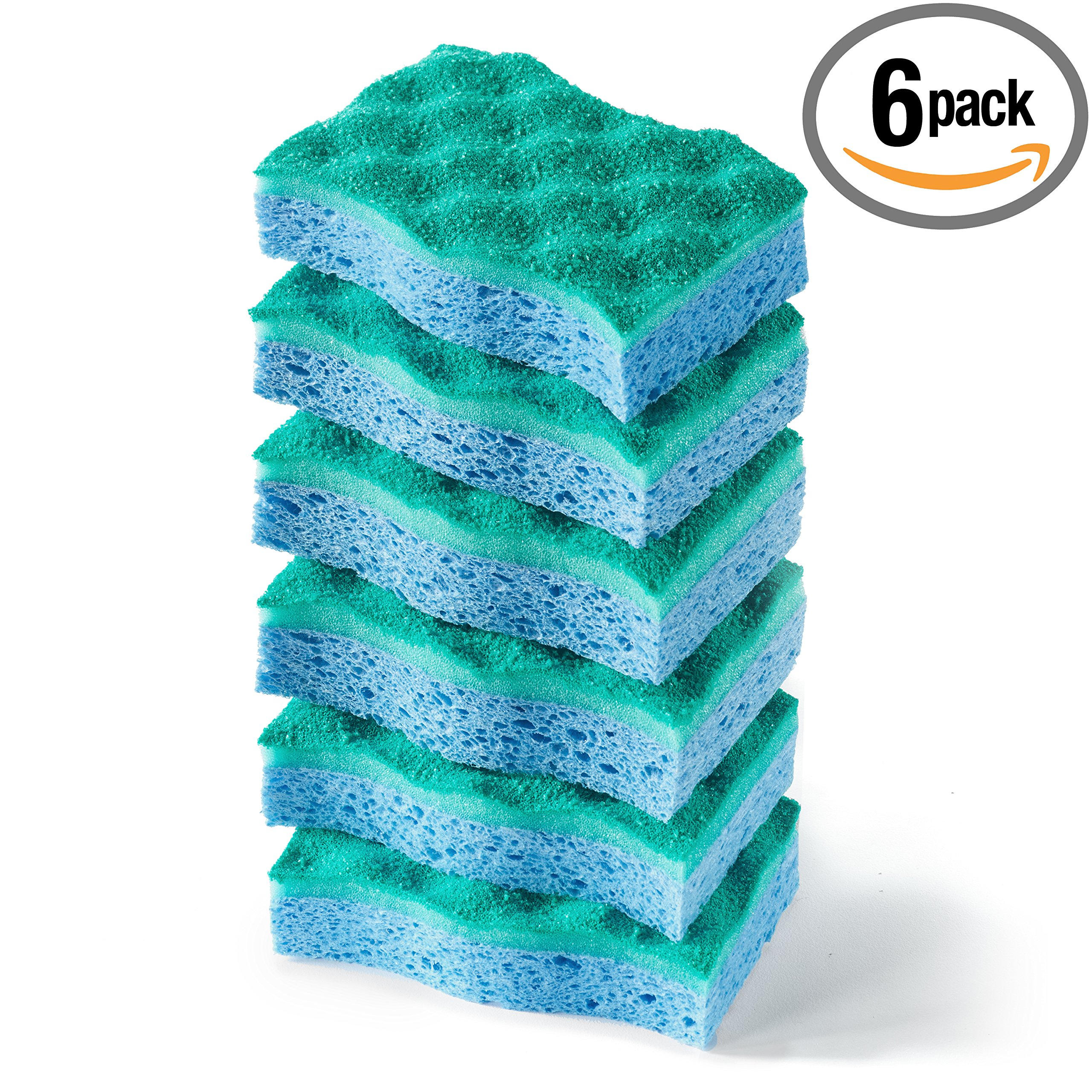 Scrub Dish Heavy Duty Sponge 6 Pack Cleaning Kitchen New