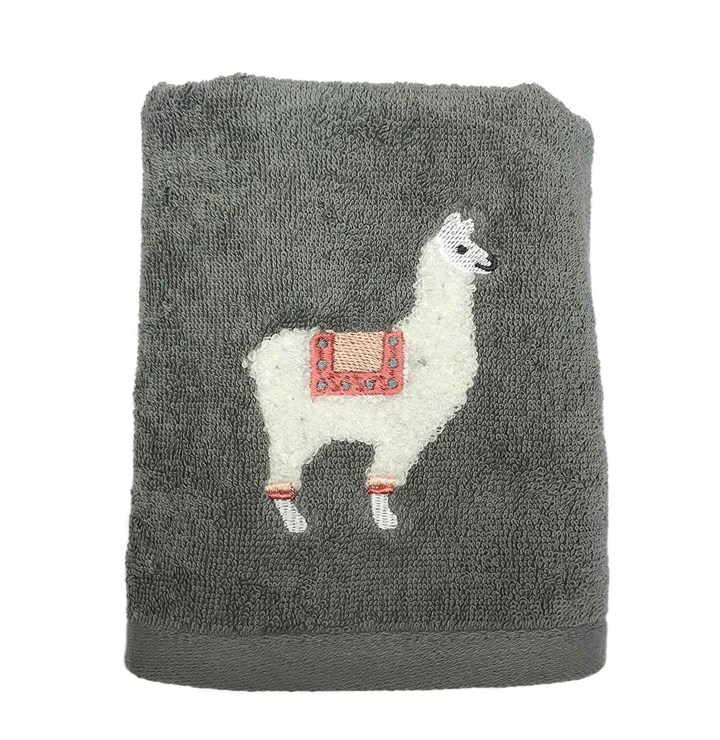 Whimsical Knotted Stitch Embroidery Fuzzy Llama Themed Decorative Bathroom Towels (Bath Towel) Deborah Connolly Designs