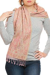 Ufash Foulard Pashmina élégant en laine d Inde, deux couleurs ... 94bfd8877f9