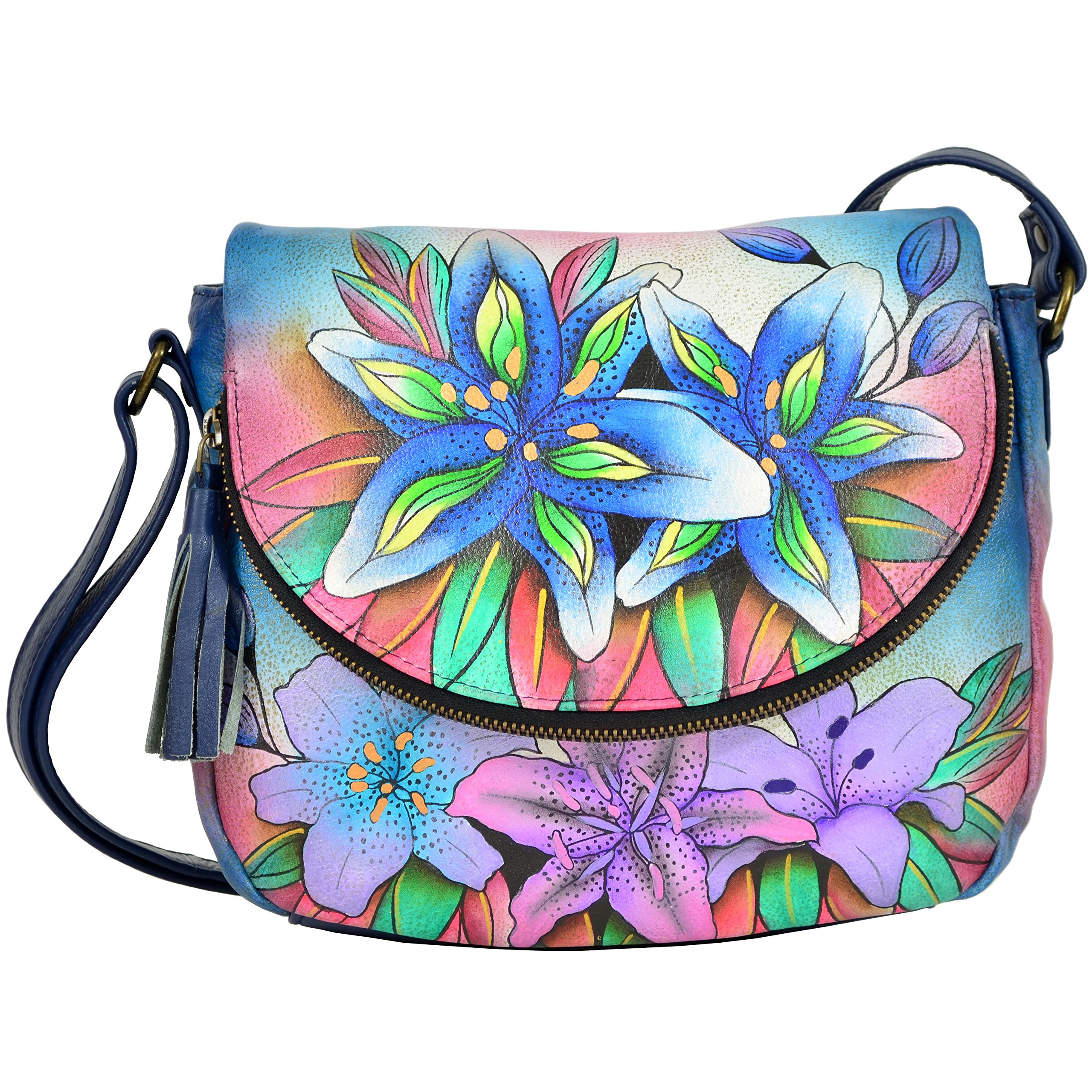 Anuschka Medium Flap Over Convertible Shoulder Bag, Luscious Lilies Denim, One Size