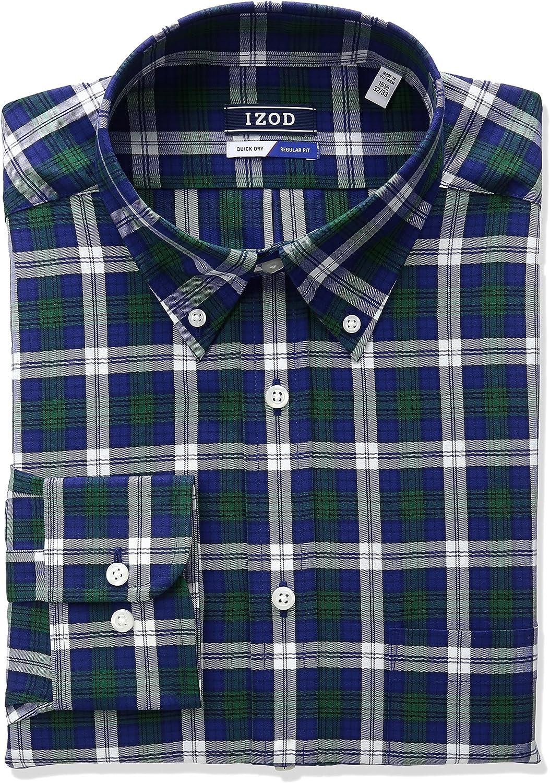 IZOD Mens Regular Fit Tartan Buttondown Collar Dress Shirt