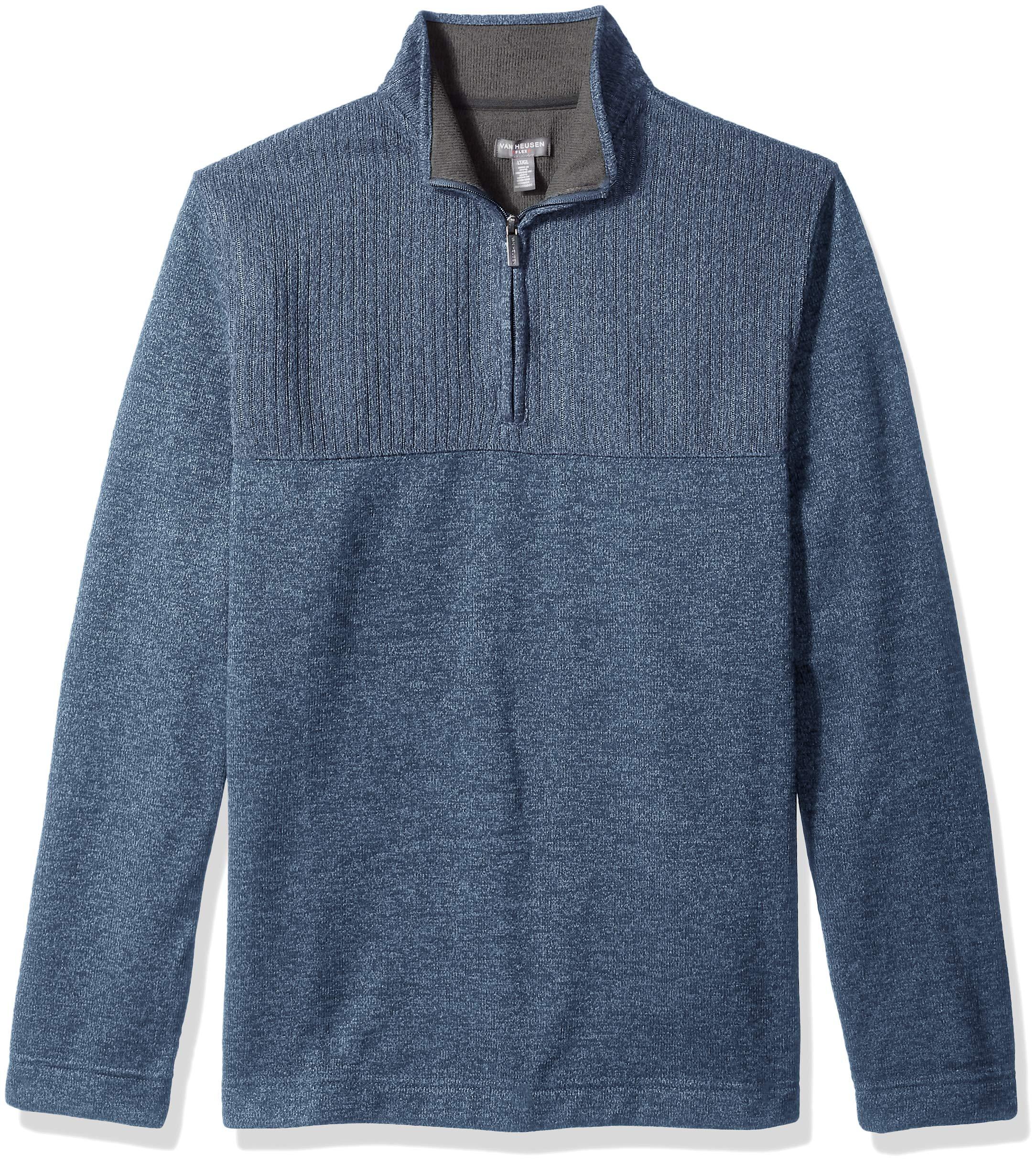 Van Heusen Men's Big and Tall Flex 1/4-zip Solid Sweater, blue forever blue, 2X-Large Big