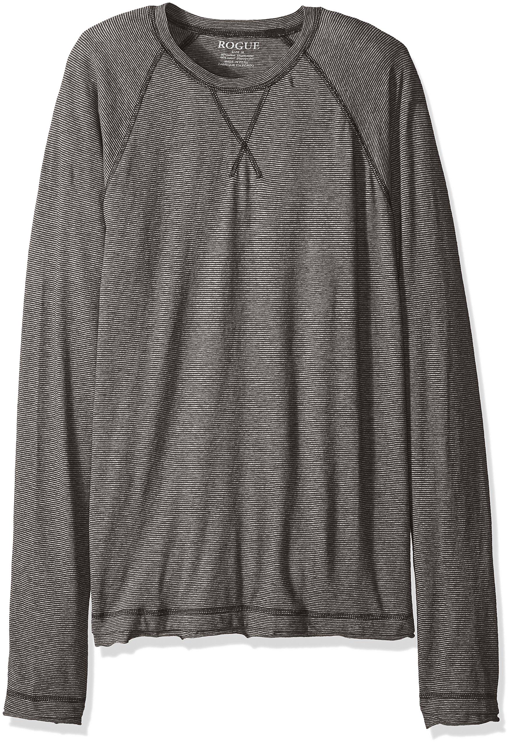 ROGUE Men's Long Sleeve Striped T-Shirt, Black/Charcoal, Large