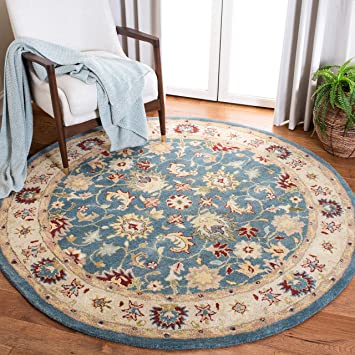Amazon Com Safavieh Antiquity Collection At15a Handmade Traditional Oriental Premium Wool Area Rug 8 X 8 Round Blue Beige Furniture Decor