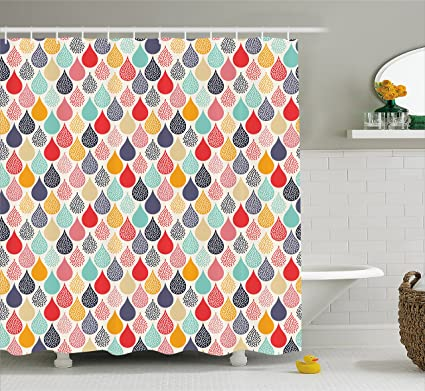 Ambesonne Geometric Shower Curtain Raindrops Doodle Style Cute Creative Leaf Shaped Colorful Girls Kids Baby