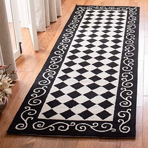 Safavieh Chelsea Collection HK711A Hand-Hooked Black and Ivory Premium Wool Runner 2 6 x 6