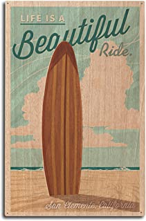 product image for San Clemente, California - Surf Board Letterpress - Life is a Beautiful Ride (10x15 Wood Wall Sign, Wall Decor Ready to Hang)