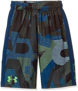 Under Armour Kids Boy's Instinct Printed Shorts (Big Kids) Arena  Green/Moroccan Blue