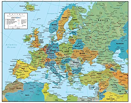 Swiftmaps Europe Wall Map GeoPolitical Edition by (18x22 Laminated)