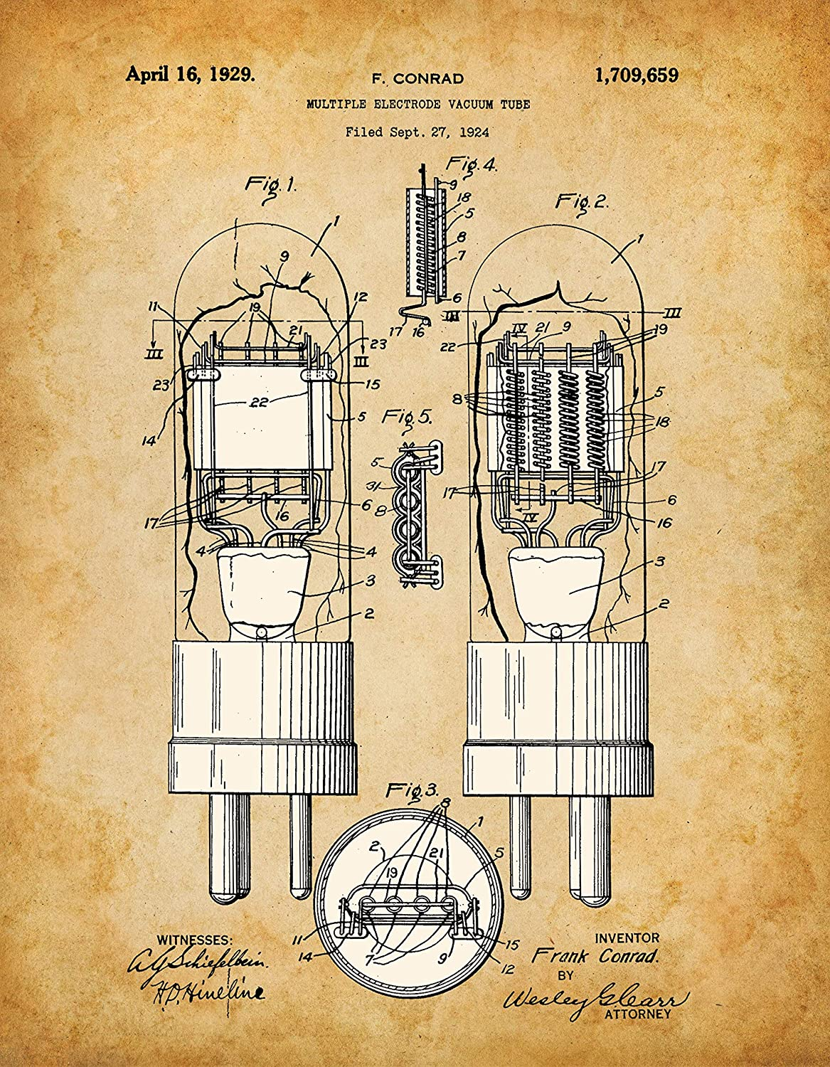 Poster - Vacuum Tube Patent - Choose Unframed Poster or Canvas - Great Decor and Gift for Amateur Radio Operators and Stereophiles Under $25