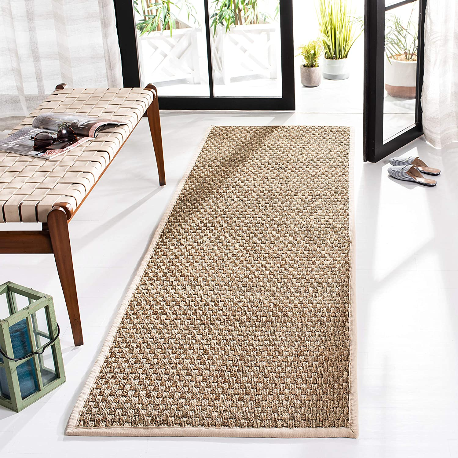 Basketweave Natural and Ivory Summer Seagrass Runner