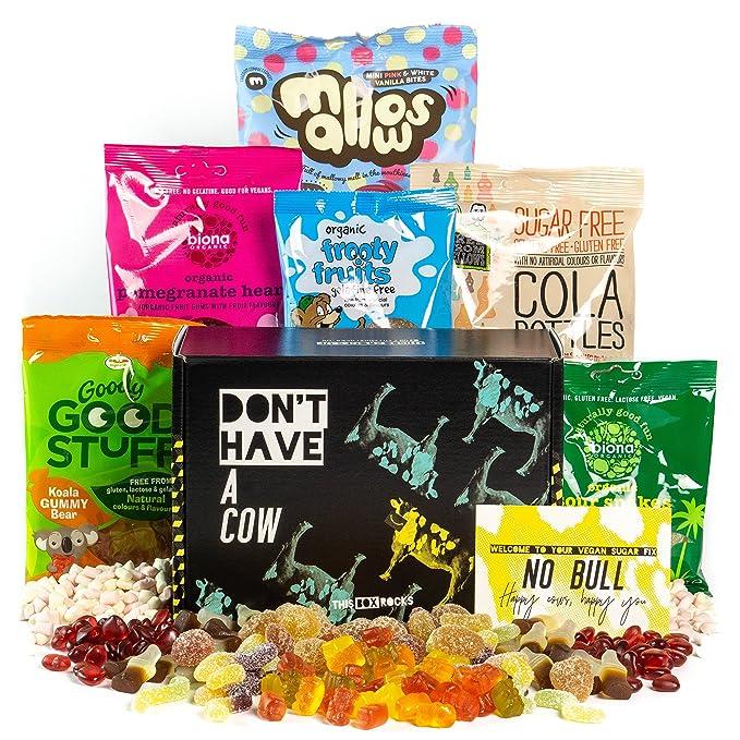 Caja de dulces veganos This Box Rocks para regalo con 6 bolsas de dulces sin gelatina
