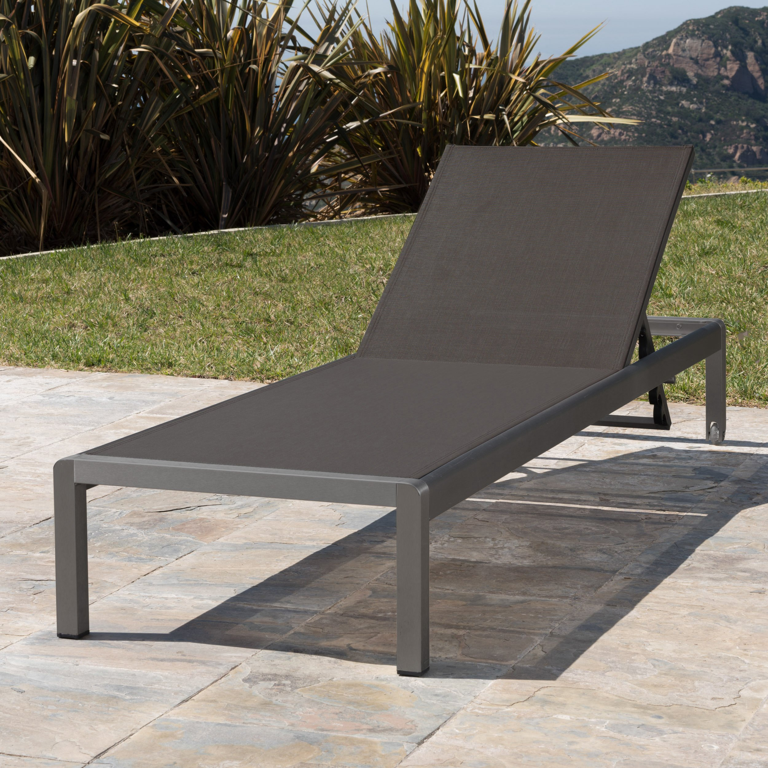 Crested Bay Patio Furniture | Outdoor Grey Aluminum Chaise Lounge with Dark Grey Mesh Seat
