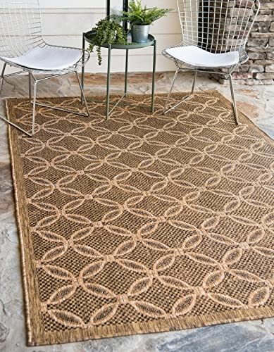 Unique Loom Outdoor Trellis Collection Geometric Border Transitional Indoor and Outdoor Flatweave Light Brown/Cream Area Rug 5' 3 x 8' 0