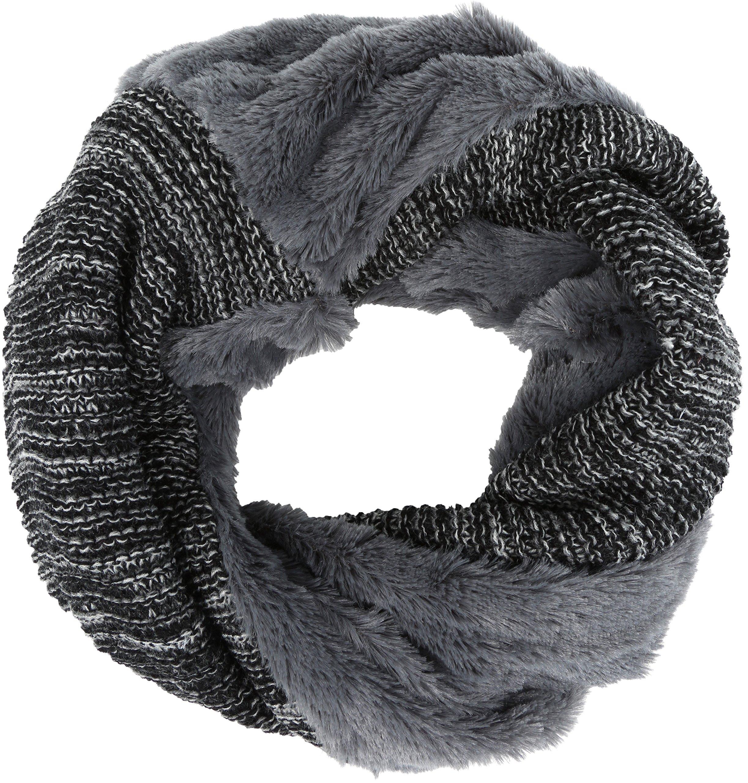 Sakkas 16107 - Sele Short Two Textured Faux Fur Ribbed Knit Mixed Designed Infinity Scarf - Grey - OS by Sakkas (Image #1)