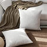 Kevin Textile Christmas Decorative Lined Linen Pillow Cover Euro Throw Pillow Case Sham Toss Cushion Covers for Couch, Invisible Zipper, 18x18 inches(Set of 2, Light Grey)
