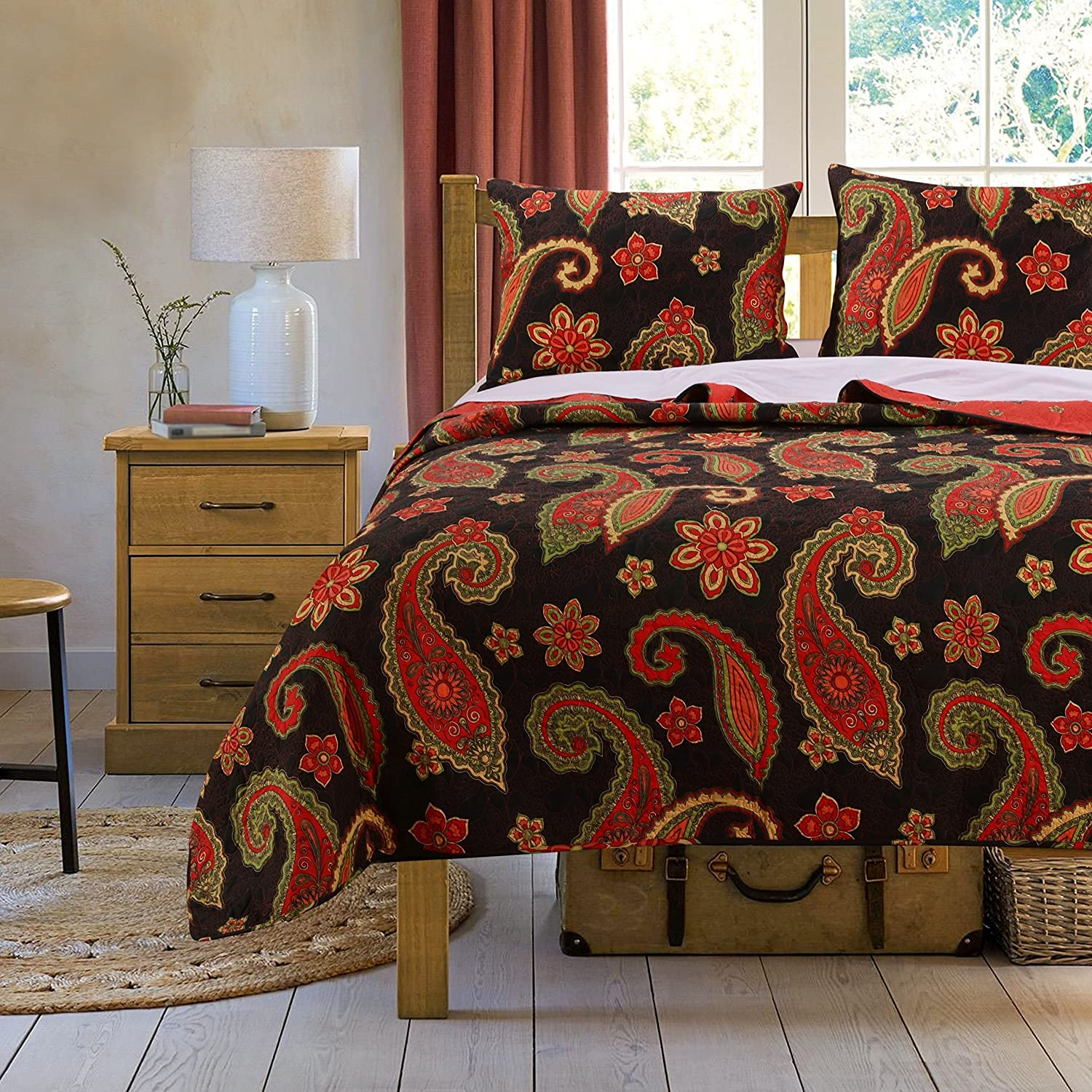 Greenland Home GL-1604AMST Midnight Paisley Quilt Set, 2-Piece Twin