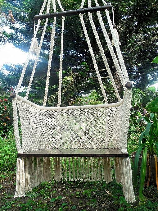Tamaño grande para colgar silla macramé arte hecho a mano con algodón barras transversales de madera ...