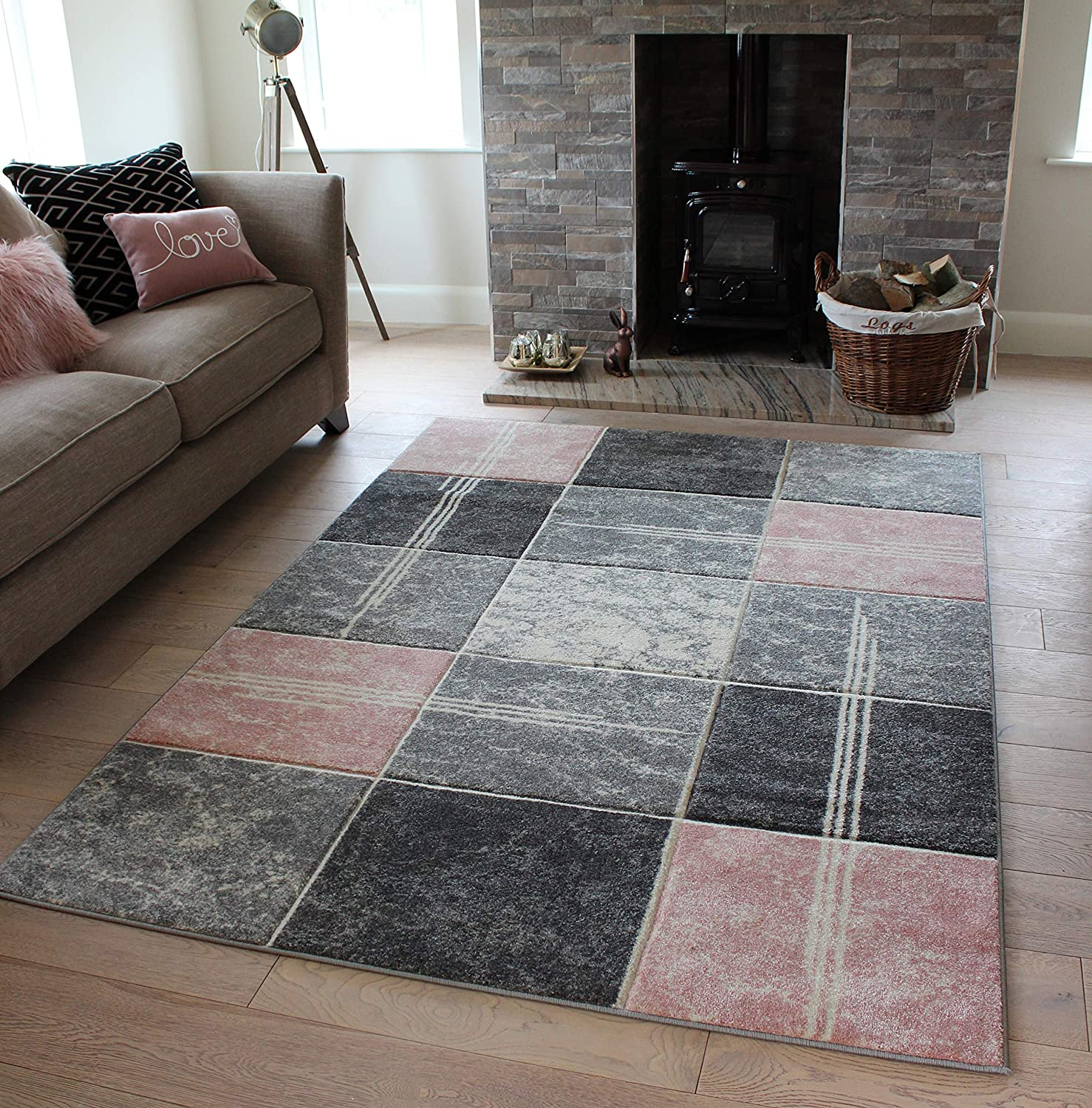 New Beautiful Thick High Quality /& Modern Squares Design Soft Rugs