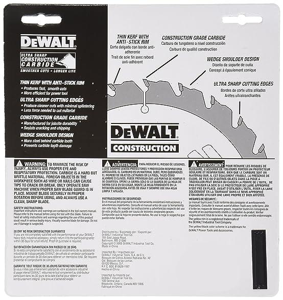 DEWALT DW3176 Construction Series 7-1/4-Inch 36-Tooth Thin Kerf ...