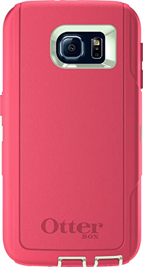 san francisco 0778b de0b8 OtterBox DEFENDER SERIES for Samsung Galaxy S6 - Retail Packaging - Melon  Pop (Sage Green/Hibiscus Pink)
