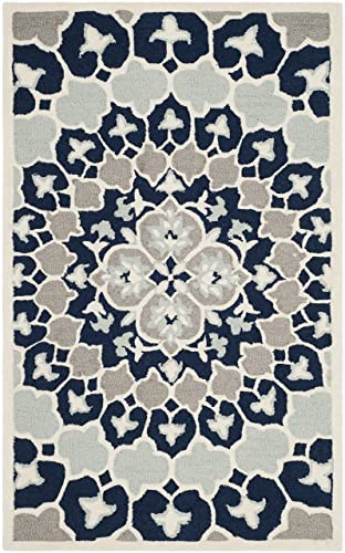 Safavieh Bellagio Collection BLG610C Navy Blue and Ivory Medallion Area Rug 3 x 5