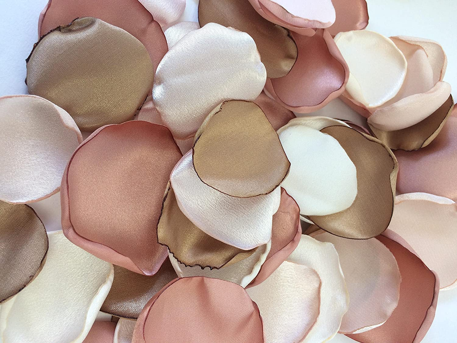 (50) Handmade satin flower petals- cream, rose gold, blush and true gold- special occassion- wedding