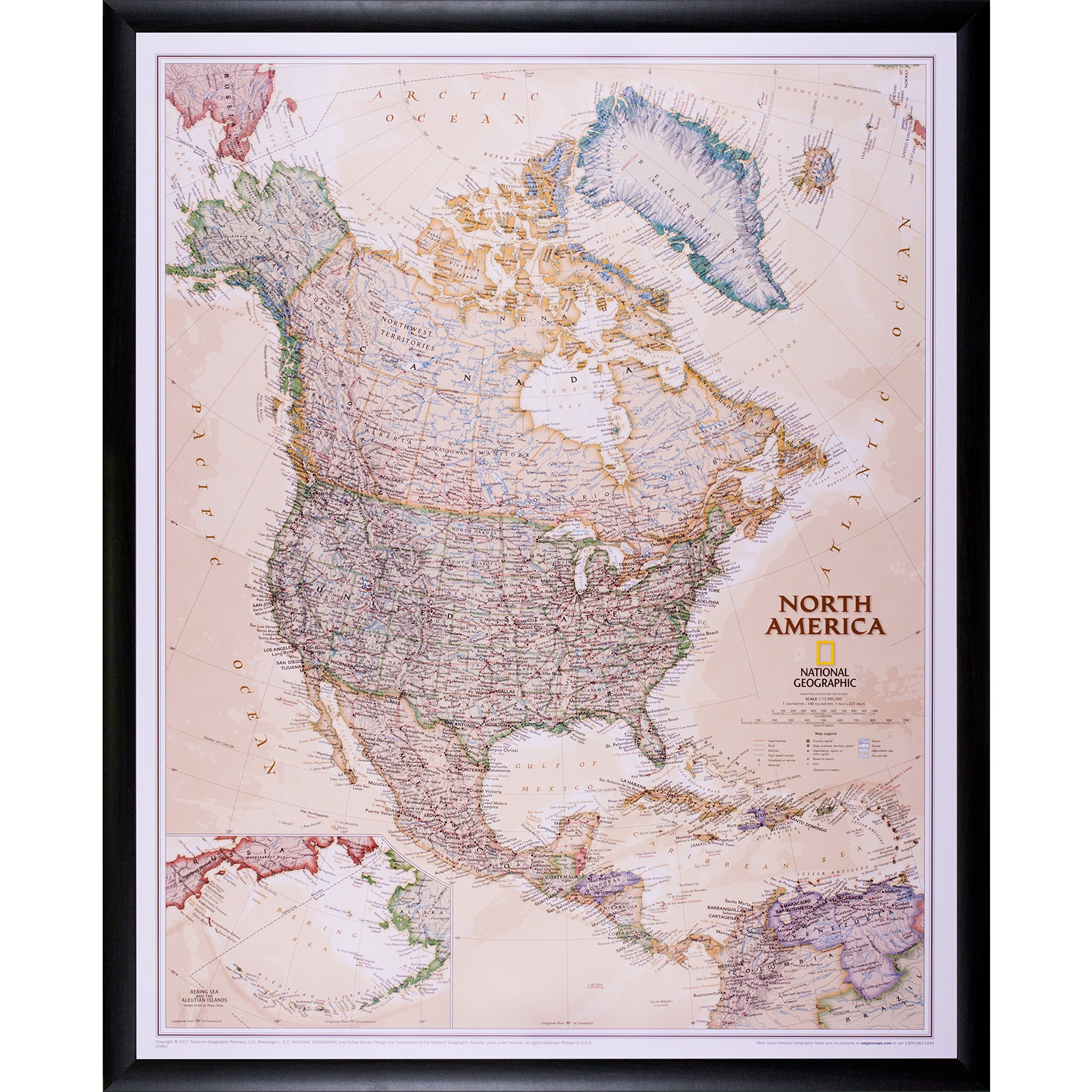 Craig Frames Wayfarer, Executive North America Push Pin Travel Map, Dark Brown Frame and Pins, 24 x 30 Inch