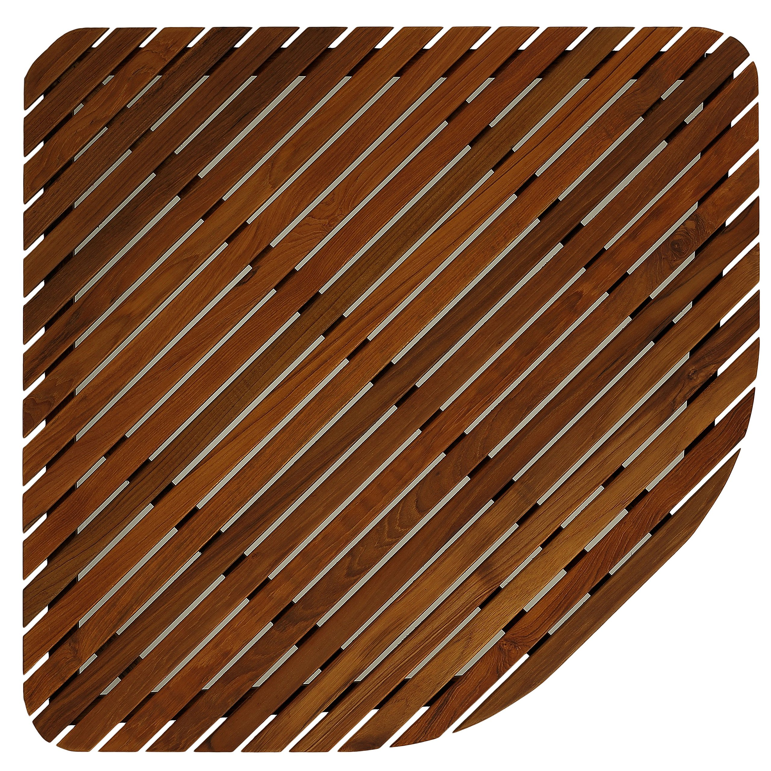 Bare Decor 30 by 30-Inch Erika Corner Shower Spa Mat in Solid Teak Wood and Oiled Finish, X-Large