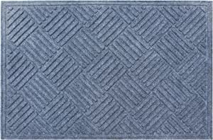 "A1 Home Collections First Impression Parquet Eco-Poly Entrance Mats with Anti Slip Fabric Finish and Tire Crumb Backing, 24"" W x 36"" L, Dark Grey"