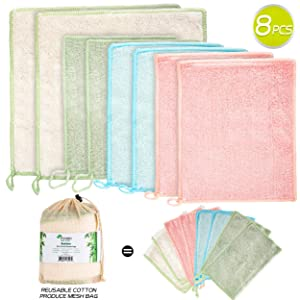 Bamboo Dish Cloths - Kitchen Rags - Home Kitchen Dish Cleaning Rags - 8 Pack - 2 Sizes - no Odor, Ecofriendly, Reusable, Extra Absorbent