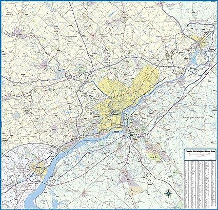 Amazon.com : Greater Philadelphia Metro Area Laminated Wall Map (59 on