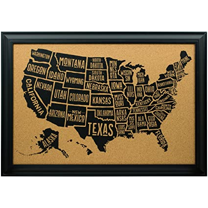 Us Map On Cork Board.Amazon Com Craig Frames Wayfarer Cork Board Typographic United