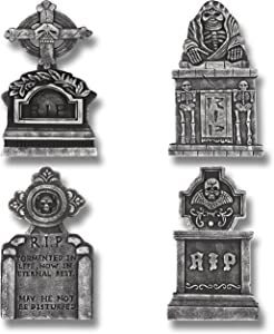 "Prextex Pack of 4 Halloween Décor 17"" RIP Graveyard Lightweight Foam Tombstone Halloween Decorations RIP"