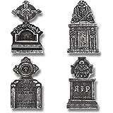 """Prextex Pack of 4 Halloween Décor 17"""" RIP Graveyard Lightweight Foam Tombstone Halloween Decorations RIP"""