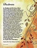 On Golden Leaves - Desiderata Poem by Max Ehrmann - Art Print 8 X 10 or 8.5 X 11