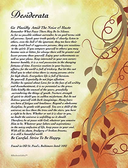 photo about Printable Desiderata named Upon Golden Leaves - Desiderata Poem By means of Max Ehrmann - Artwork Print 8 X 10 or 8.5 X 11