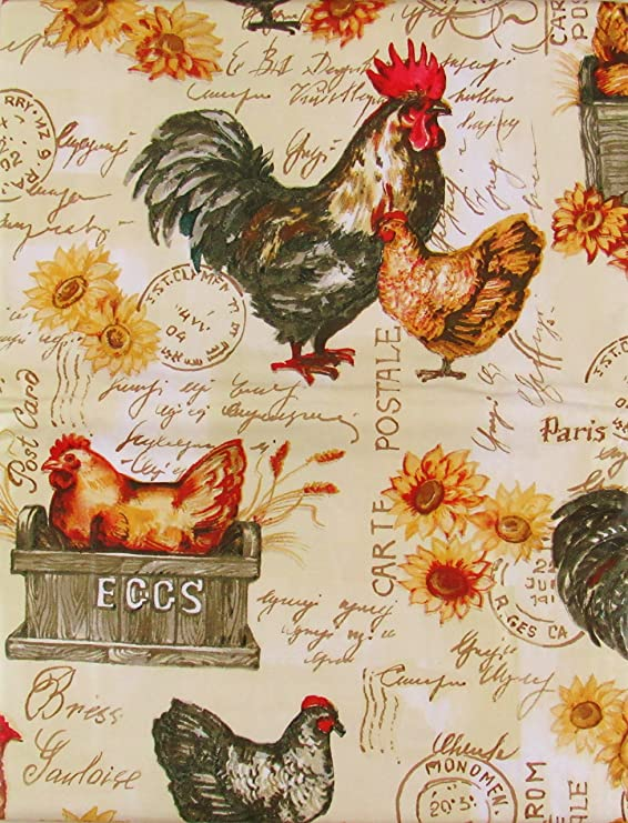 Rooster Vintage Reproduction Cotton Tablecloth 52 inch