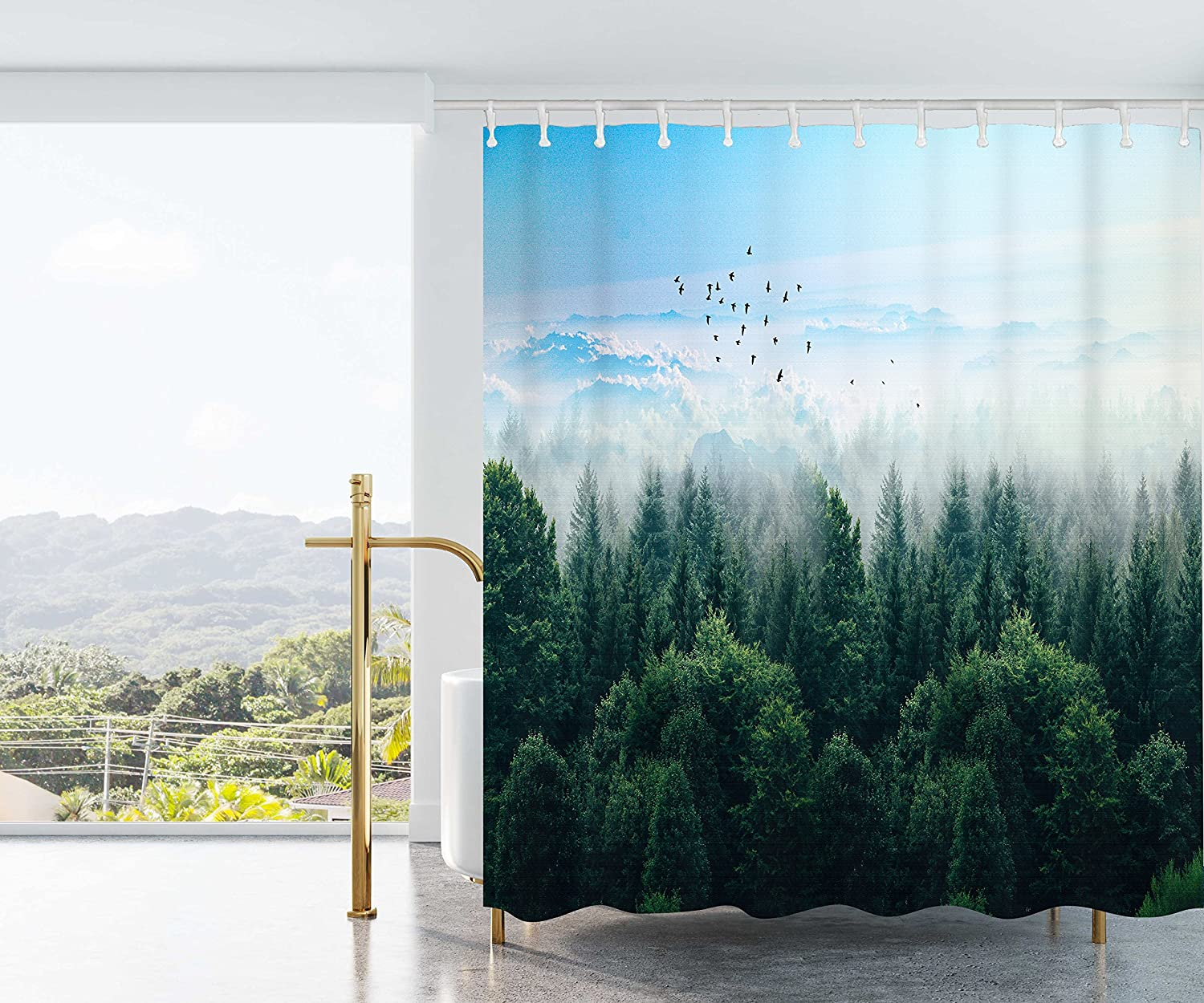 Autumn Shower Curtain Tree in Abstract Woods Print for Bathroom 71 Inches Long