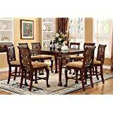Petersburg English Style Cherry Finish 9 Piece Counter Height Dining Table  Set